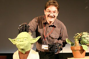 Dave Barclay, who cut his puppeteering teeth working for Stuart Freeborn on The Empire Strikes Back, brought one of the original Yoda heads mounted on a board as well as one of the plant puppets from Little Shop of Horrors.