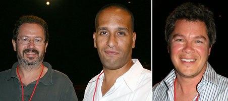 Method Studios Alex Frish, 2D vfx supervisor (left) and Hatem Benabdallah (center), 3D vfx artist shared some of their tricks of the commercial spot trade, Digital Domain exec producer Edward Ulbrich (right).