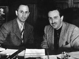 Walt Disney (right) was urged by Federal mediators, nationwide boycotts, the Bank of America and his brother Roy (left) to give in and recognize the Guild. © Disney Enterprises Inc.