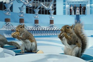Burton and the vfx team were hoping that real and animatronic squirrels could solely be used for this sequence, but in the end it proved too difficult. Framestore CFC produced more than 70 shots of very complex CG animation.