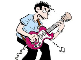 The hectic pace of modern family life is lampooned in Edge City. Len, a harried husband and dad, authors a deliberately provocative blog and plays lead guitar for a band. © 2004 Terry and Patty LaBan.