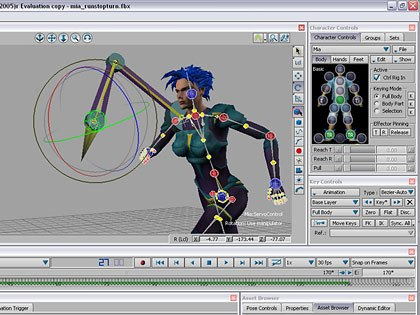 Characterizing is simply connecting MotionBuilders built-in control rig with your character skeleton using the intuitive drag and drop interface. All screencaptures by Fred Galpern.