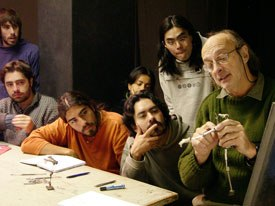 Uruguayan animator Walter Tournier discusses techniques with students as part of his stop-motion clinic at Anima 05.