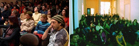 The festival always played to a packed crowd at the Centro Cultural España-Córdoba. Left image, front: Javier Mrad, founding partner and creative director of Medialuna/Banzai Films in Buenos Aires.