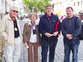 Senior directors (left to right) Bretislav Pojar, Vlasta Pospisilova (Jan Werichas Fimfarum) and Jan Jira visit with Petr Slavik, organizer of Anifest. Courtesy of Corona-Anifest.