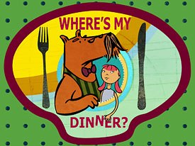 With a great mix of 2D and 3D animation styles, Wheres My Dinner? from Londons Arthur Cox promotes healthy eating by bringing together cookery, geography and crazy capers. © Arthur Cox Ltd. 2005.