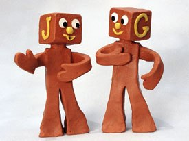 Aspects of Art Clokeys personality are displayed in Gumby: Pokeys cynicism is Clokey in real life; Gumby represents optimism; Prickle shows his analytical side and the Blockheads (above) represent mischievousness.