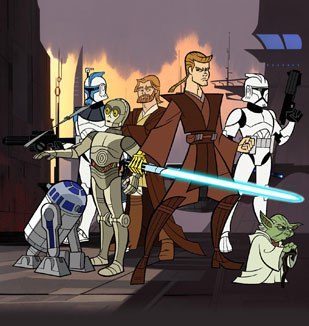 The first project for Lucasfilm Animation Singapore will be the TV series Clone Wars, scheduled for 2007. The original series appeared on Cartoon Network (above). Courtesy of Cartoon Network.