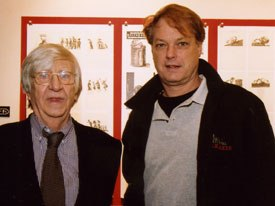 Heinz Edelmann (left) greets animator Bill Plympton at the opening reception of The Masters Series: Heinz Edelmann exhibition at School of Visual Arts in New York. Unless otherwise indicated, all images courtesy of School of Visual Arts.