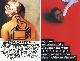 Edelmanns book cover designs include Doctor Hoffmans Infernal Dream Machines by Angela Carter, 1984 (left) and The Monstrous Slap in the Face by I. von Kieseritzky, 1981.