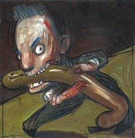 Eating Sausages was an Edelmann illustration from the Frankfurter Allgemeine magazine, circa, 1990.