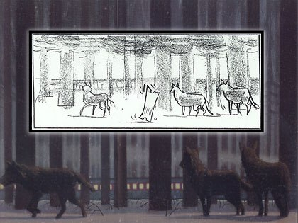 An early sketch and painting of the wolves watching the train during the ticket ride sequence.