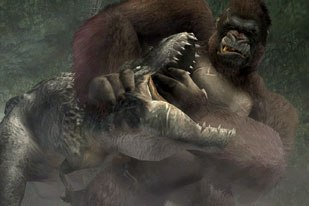 The King Kong videogame features creatures not in the movie. © 2005 Ubisoft Ent. All rights reserved. Universal Studios King Kong movie © Universal Studios. Licensed by Universal Studios Licensing LLLP. All rights reserv