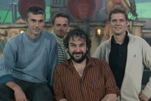 King Kong director Peter Jackson (center) chose Ubisoft to create the game because of the impressive character development and storytelling of Beyond Good & Evil by Michel Ancel (second from left, with his team).