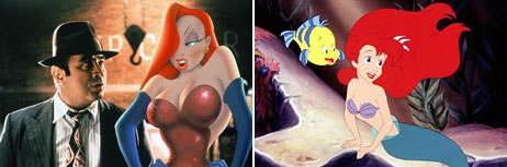 The 1980s brought hits that were in the adult entertainment genre: Who Framed Roger Rabbit (left) and The Little Mermaid. © Buena Vista Home Entertainment, Inc. All rights reserved (left); © The Walt Disney Company.