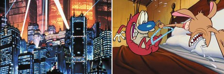 Akira (left) opened doors to sophisticated narratives while The Ren & Stimpy Show offered mature TV animation. Courtesy of Pioneer Ent. Produced by Akira Committee Kodansha. © 1987 Akira Committee (left); © Spike T