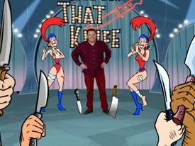 Brad Sherwood cuts a fine figure in Catch That Knife (animation directed by Harold Moss, FlickerLab) on Drew Careys Green Screen Show. © International Mammoth Television Inc.