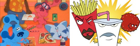 In an extreme example: would you pitch the next Blues Clues to Adult Swim or the next Aqua Teen Hunger Force to Nick Jr.? Blues Clues © Nickelodeon. Aqua Teen Hunger Force © Cartoon Network.