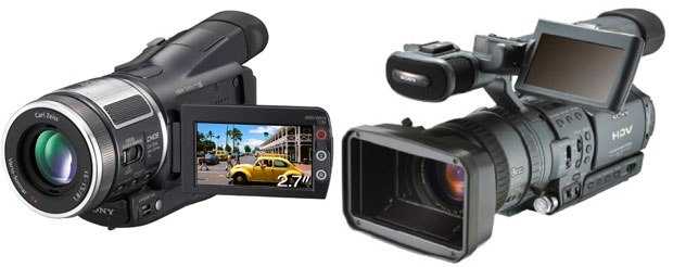 The Sony HDR-HC1 (left), a compact model priced at under $2K, or the Prosumer HDR-FX1, both allow you to shoot professional quality HD video with separate sound inputs.