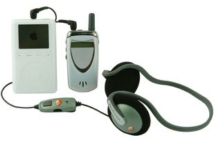 The Skullcandy was offered in a variety of new models. This low-cost connection between the cell phone and MP3 player allows a cell phone to ring through when listening to music on stereo headphones. © Skullcandy.