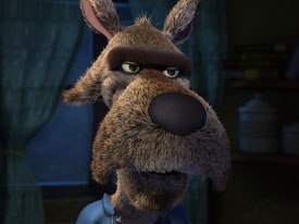 Todd Edwards had the idea of making The Wolf (above) a Fletch-type character with a dry, deadpan humor. Cory then paired the low-key wolf with sidekick Twitchy the squirrel, who is very fast and upbeat.