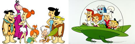 In the mid-60s, animated films were made in North America. Among the remarkably wide variety of wholesome cartoon programming offered were The Flintstones (left) and The Jetsons. © &  2002 Cartoon Network.