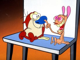 Canada was assigned outsourced service. Ren & Stimpy was produced by Bardel in Vancouver, and the entire show eventually was produced up to Canada. © Spike TV.