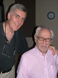 The voice of John's father, who died in 1995, is played in the short by long-time Brooklyn character actor Eli Wallach, on right next to Canemaker. Courtesy of John Canemaker.