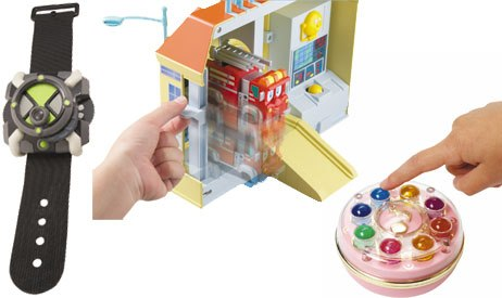 Bandai offered several new lines based on television properties, including the watch from Ben 10, a firehouse from Firehouse Tales and a dream spinner from Magical DoReMi. Courtesy of Bandai.