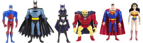 The biggest licensing presence at Toy Fair was for comicbook properties. Mattel exhibited figures based on DCs Justice League. Courtesy of Mattel.