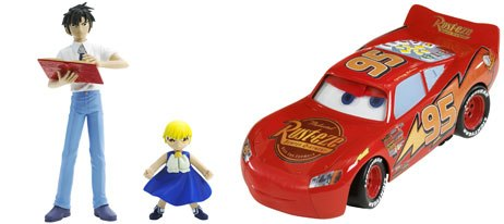 Mattel displayed a number of mainstream anime licenses, including Zatch Bell (left). It also introduced Fast Talking Lightning McQueen based on the upcoming Pixar film Cars. Courtesy of Mattel.
