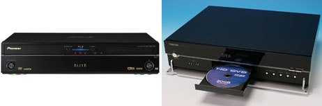 The next-gen DVD players are set to battle it out in the marketplace. The Pioneer Elite (left) is one of the first Blu-ray Disc players while Toshiba introduces its line of HD DVD players.