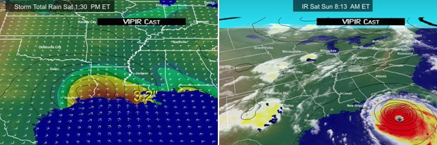 Visualizations of Hurricanes Rita (left) and Katrina as they make landfall. The data was processed on SGI® Altix® systems. Images courtesy of Barons Advanced Meteorological Services.