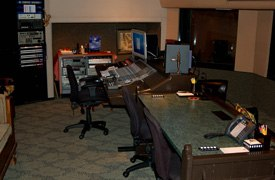 The control booth for Studio A at L.A. Studios Groups facility. The company specializes in anything audio, especially voice recording on big budget animation features and television series.