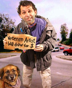 Mark Simon, panhandling with invoices.