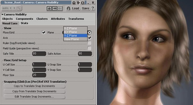 The grid plane is now adjustable and full support for Softimages new product, Face Robot, has been added to this version. Image courtesy of Avid Technology Inc. (right).