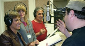 MJ Lallo (left), a voice-over artist, director and teacher notes that a high level of energy must be maintained during a videogame recording session. Actors have to do a line five, 10 or 15 different ways.