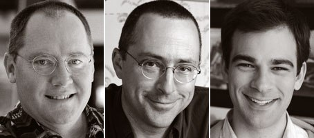 Director John Lasseter (left) sees limitations as opportunities and urged truth to materials to supervising td Eben Ostby (center), supervising animator Doug Sweetland and the rest of the team.