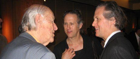 The Brothers Quay chat with fellow stop-motion legend Ray Harryhausen. Courtesy of Sarah Baisley.