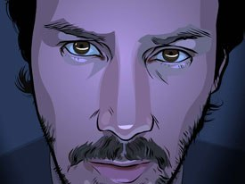 A Scanner Darkly brings Richard Linklater back to interpolated rotoscoping, the same animation technology he used in Waking Life. It took 500 hours to get a minute on screen. All images © 2005 Warner Bros. Ent.