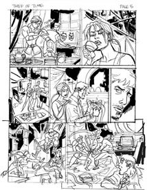 An early pencil rough version of page 5 of A Glitch in Time. There are at least two types of conflict going on in the page. Can you identify them?