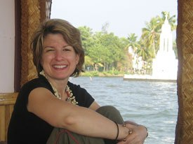 Lisa Goldman on a rice boat in Kerala. This could be you if you apply to MIFF-2008!
