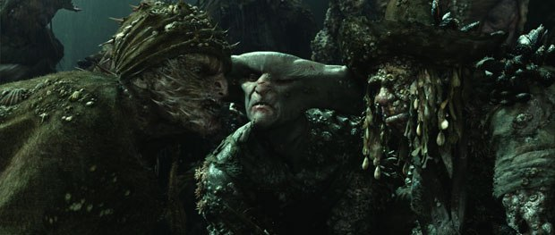 The crew of The Flying Dutchmen features a cast of characters with visual references to the ocean and its creatures, including coral, sea sponges, barnacles, mussels, hammerheads and puffer fish.