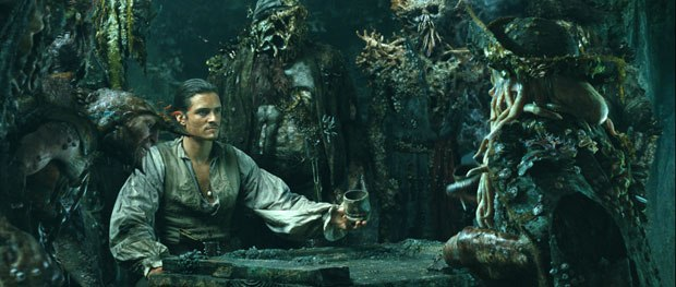 Davy Jones and the crew of The Flying Dutchman interact closely with live actors throughout the film.