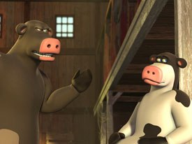 Oedekerk and his team incorporated the voice talents movements into the animation. For example, Kevin James (as Otis, right) scratched his nose during a reading and that was put that into the animation. Sam Elliot embodied Bens character
