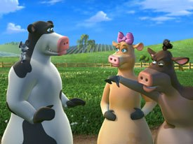 Oedekerk notes that Otis (left) from Barnyard is actually like him. Ultimately, Otis has to learn a life lesson summed up in a line in the movie: A strong man stands up for himself; a stronger man stands up for others.