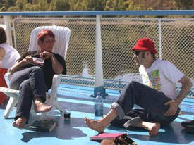 Australian animator Nick Kallincos and Nancy Denney-Phelps relax of the ships deck.