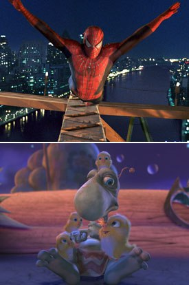 The work done on the original Spider-Man (top) and then on The ChubbChubbs were technical precursors to Open Season.
