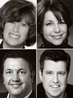 SPA evps Sandra Rabins (clockwise from top left) and Penney Finkelman Cox; Yair Landau, president of Sony Pictures Digital Ent.; and Tim Sarnoff, Imageworks president, wanted the foundation of Sony Pictures Animation to stand on great tales.