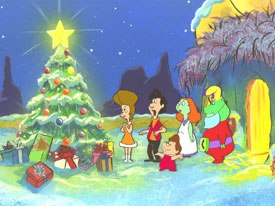 Aliens First Christmas (1991), a Beverly Hillbillies in reverse, shows the influence of Hanna-Barbera on Perennials character designs at the time. © Perennial Pictures.